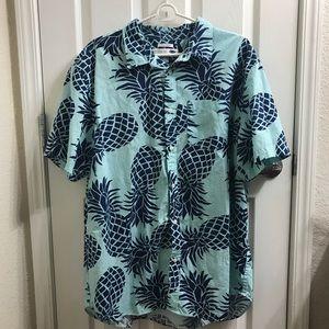 Collard button up blue pineapple XXL